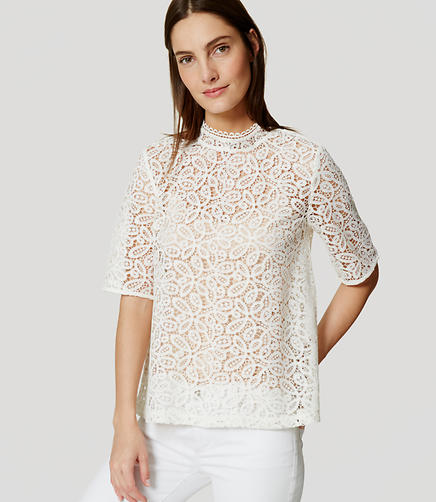 Image of Lace Mockneck Top