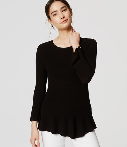 Image of Ribbed Peplum Sweater
