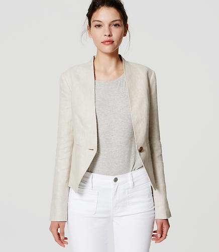 Image of Petite Herringbone Linen Blazer