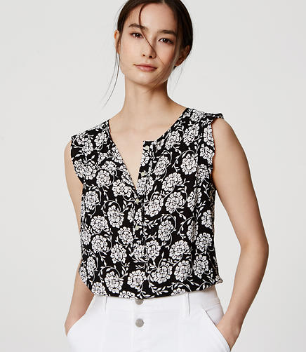 Image of Petite Floral Ruffle Trim Henley Shell