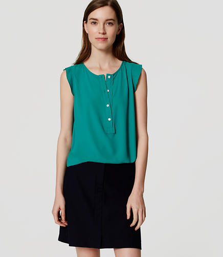 Image of Petite Ruffle Trim Henley Shell