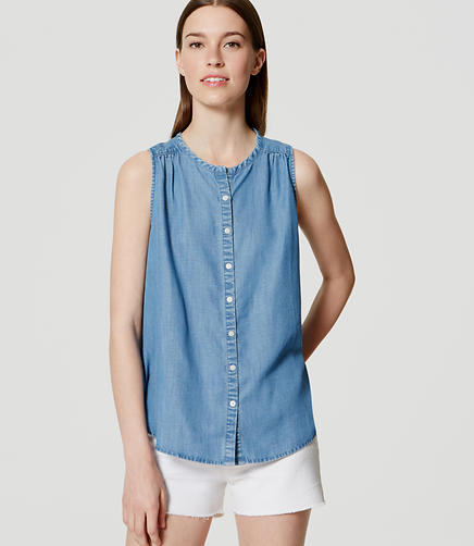 Image of Petite Shirred Chambray Shell