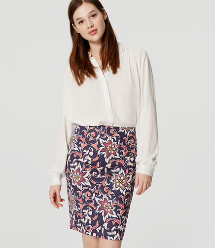 Image of Floral Doubleweave Pencil Skirt