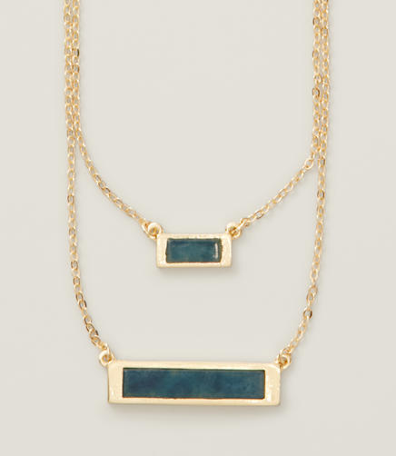 Image of Blue Double Bar Necklace