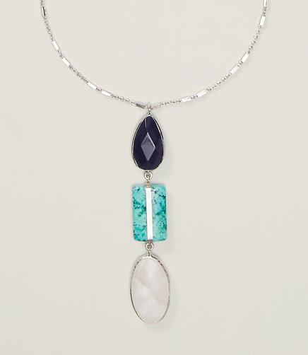 Image of Triple Stone Pendant Necklace
