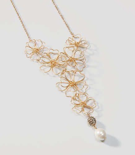 Image of Pearlized Wire Floral Necklace