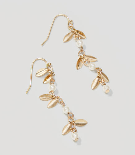 Image of Pearlized Leaf Drop Earrings