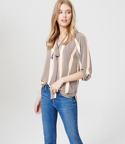 Image of Striped Tie Neck Blouse