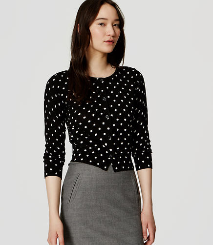Image of Petite Polka Dot Cropped Cardigan