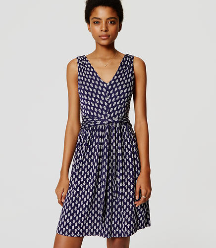 Image of Petite Petaled Tie Double V Flare Dress