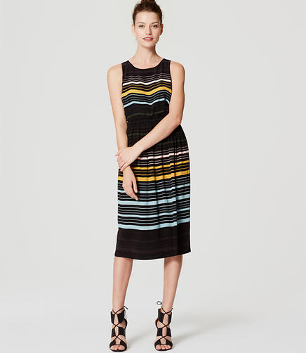 Image of Striped Blouson Midi Dress