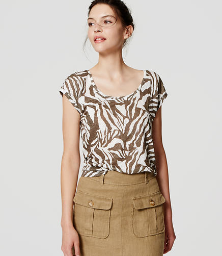 Image of Zebra Print Linen Shirttail Tee
