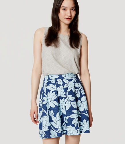 Image of Floral Doubleweave Pleated Skirt