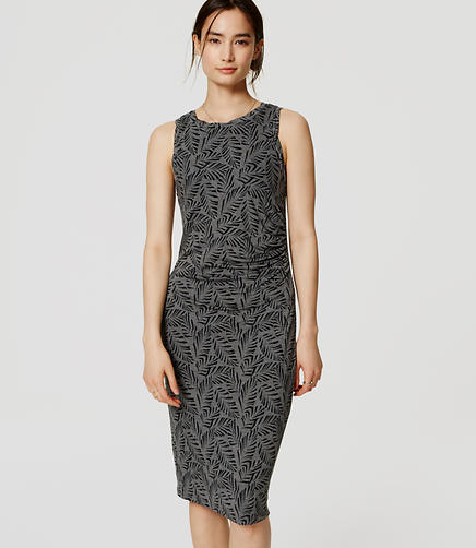 Image of Petite Palm Sleeveless Side Shirred Dress