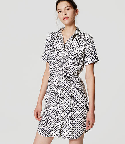 Image of Diamond Dot Short Sleeve Shirtdress