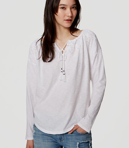 Image of Eyelet Yoke Tassel Top