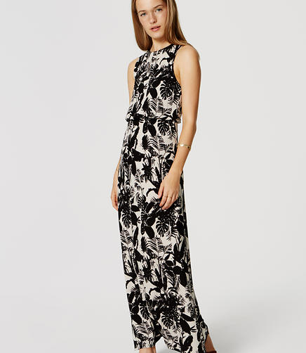 Image of Petite Shadow Floral Keyhole Maxi Dress
