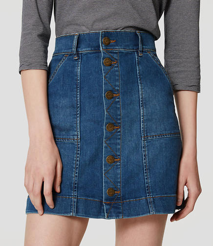 Image of Petite Button Down Denim Skirt