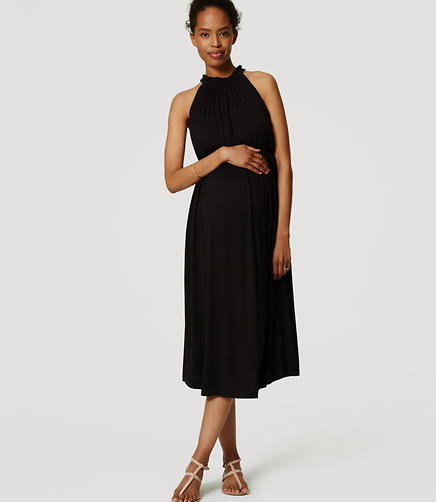 Image of Maternity Gathered Halter Midi Dress