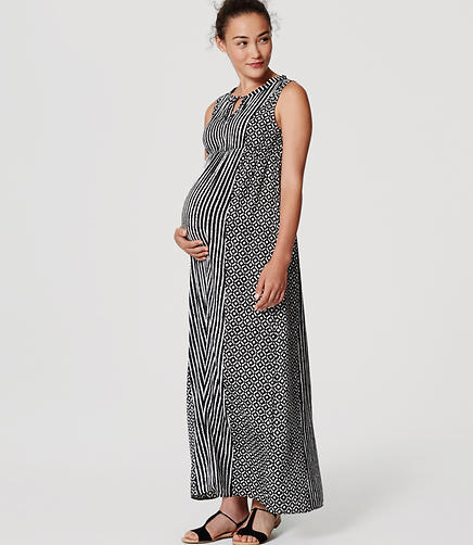 Image of Maternity Mosaic Stripe Maxi Dress