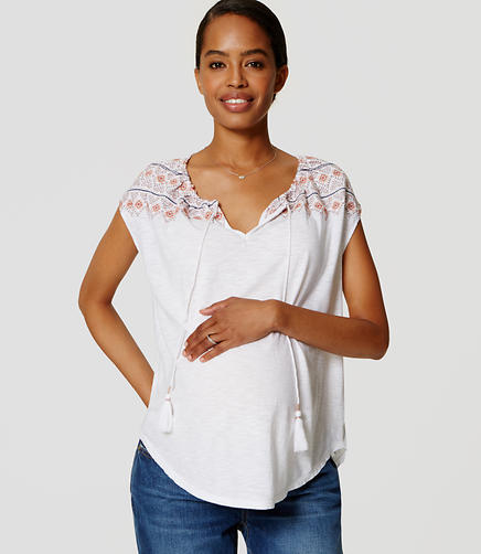 Image of Maternity Embroidered Yoke Tassel Tee