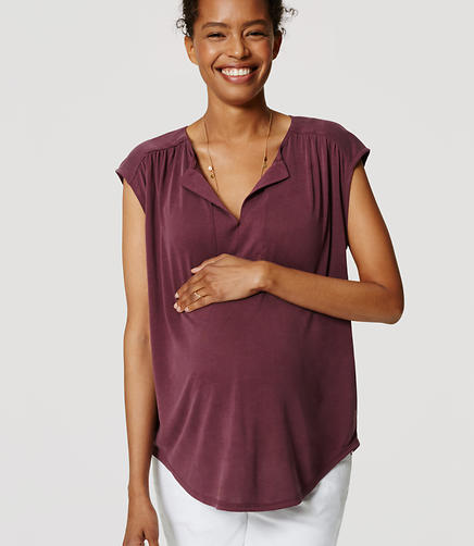 Image of Maternity Sandwashed Split Neck Top