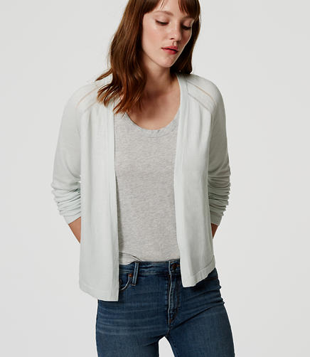 Image of Petite Pointelle Stripe Open Cardigan