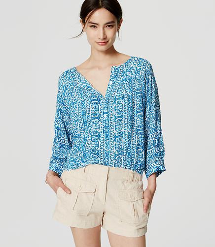 Image of Petite Mosaic Shirred Blouse