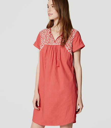 Image of Embroidered Split Neck Dress