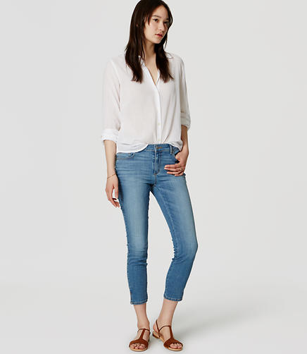 Image of Slim Vent Crop Jeans in Light Stone Wash