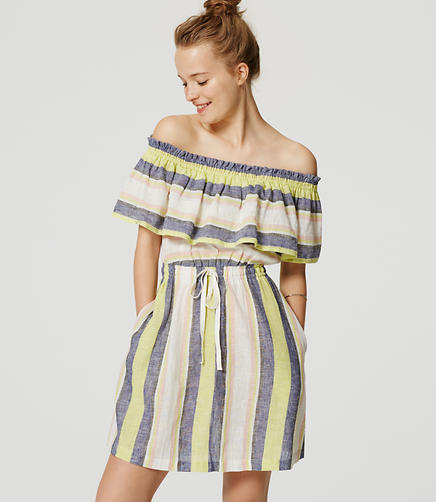 Image of LOFT Beach Striped Off the Shoulder Dress