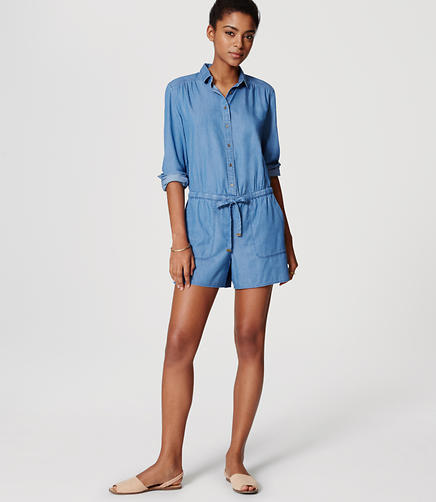 Image of Chambray Drawstring Romper