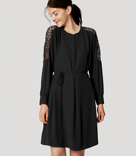 Image of Lace Shoulder Shirtdress