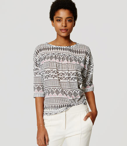 Image of Petite Mosaic Stripe Drop Shoulder Blouse