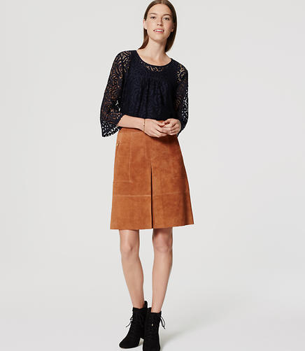Image of Suede Zip Skirt