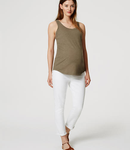 Image of Maternity Skinny Crop Jeans in White