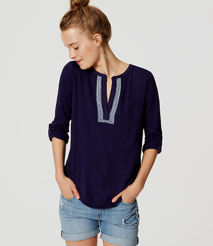 Image of Embroidered Vintage Soft Split Neck Top
