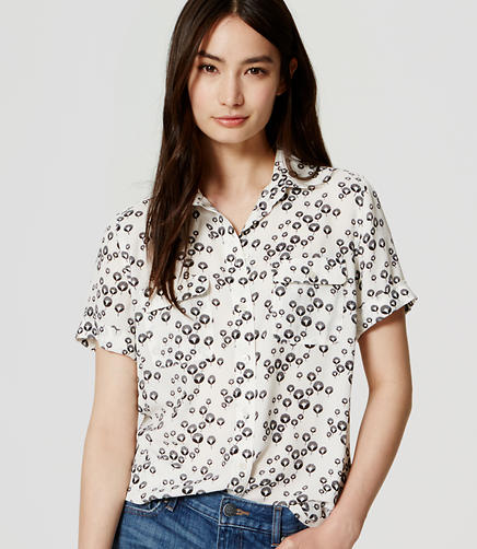 Image of Petite Dandelion Short Sleeve Utility Blouse