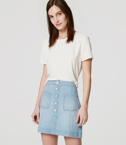 Image of Patch Pocket Button Down Denim Skirt
