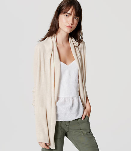 Image of Ribbed Sleeve Open Cardigan