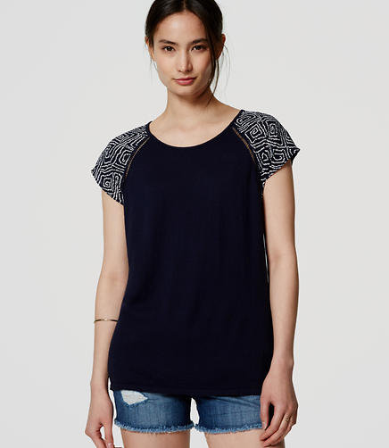Image of Abstract Back Peplum Mixed Media Tee