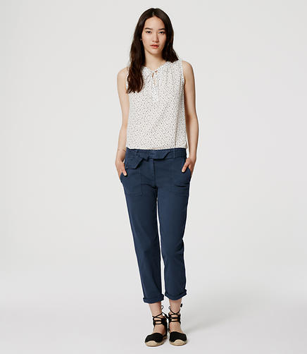 Image of Cropped Tie Waist Chinos in Marisa Fit