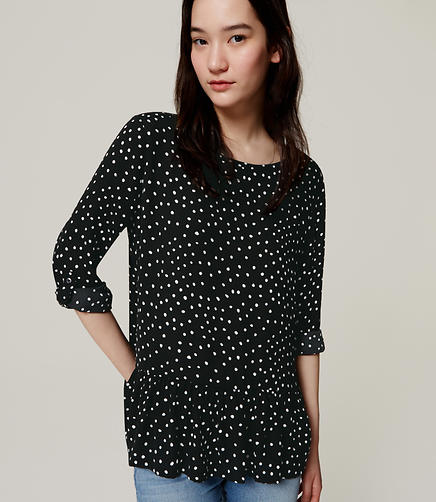 Image of Polka Dot Peplum Blouse