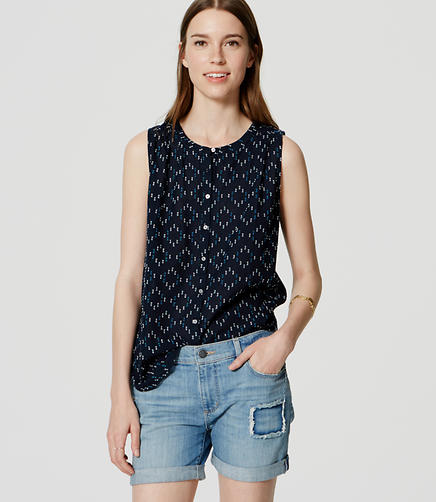 Image of Geo Sleeveless Shirred Blouse