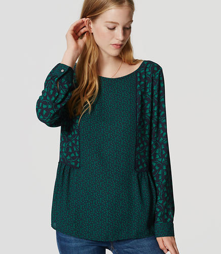 Image of Mixed Ivy Piped Blouse