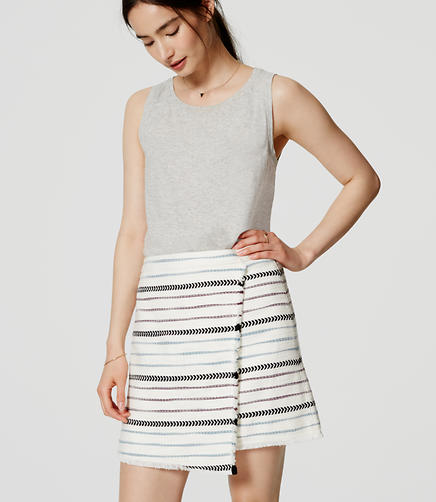 Image of Striped Fringe Wrap Skirt