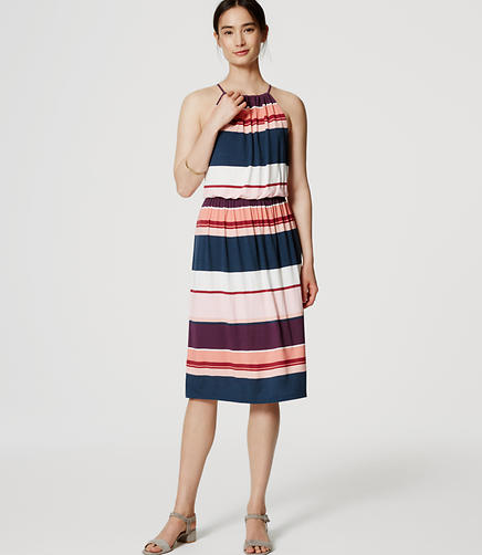 Image of Striped Halter Midi Dress