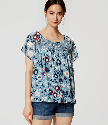 Image of Floral Smocked Blouse