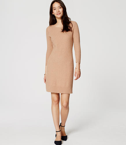 Image of Basketweave Sweater Dress