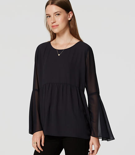 Image of Sheer Bell Sleeve Blouse